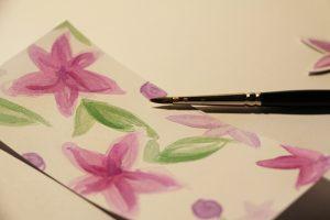 Calligraphique - Carte pliée fleurie - aquarelle