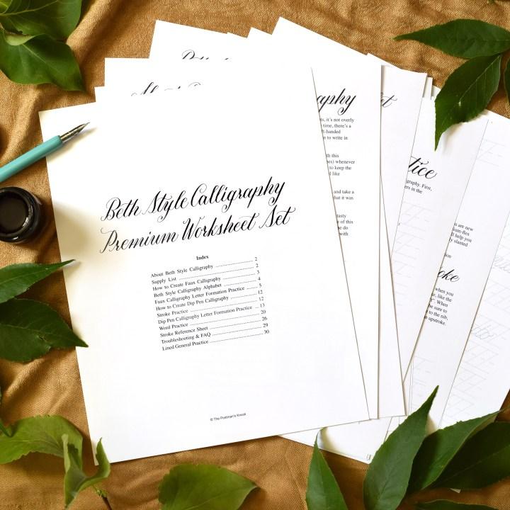 Premium Calligraphy Worksheet Set {Beth Style}