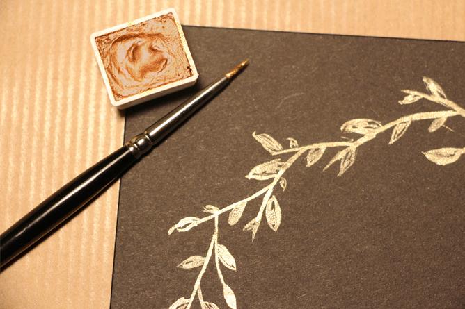 Carte Joyeux Noël Calligraphique - Feuilles