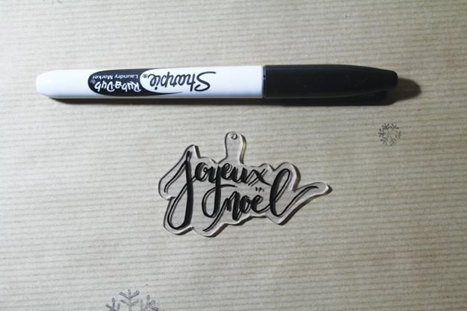 Décoration Noel Plastique fou - Calligraphique