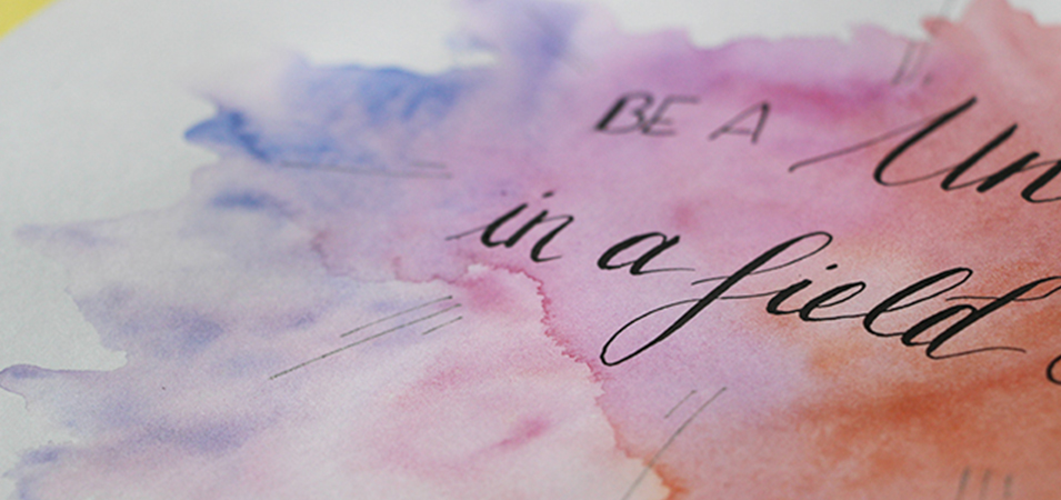 aquarelle brush lettering - Calligraphique