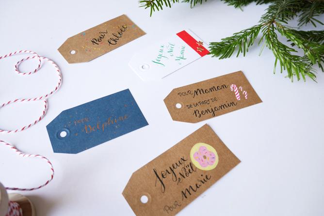 Etiquettes cadeaux Noël - Calligraphique1