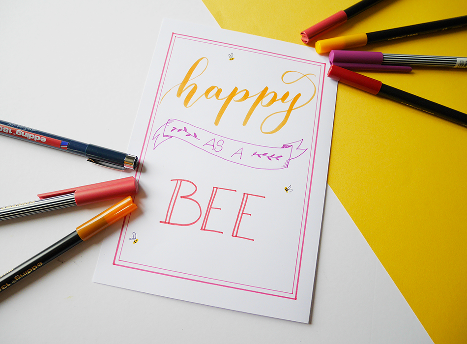 Happy Box Edding brush lettering - calligraphique