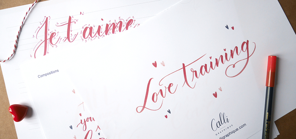 livret d'initiation au brush lettering love letter Saint-Valentin - Calligraphique