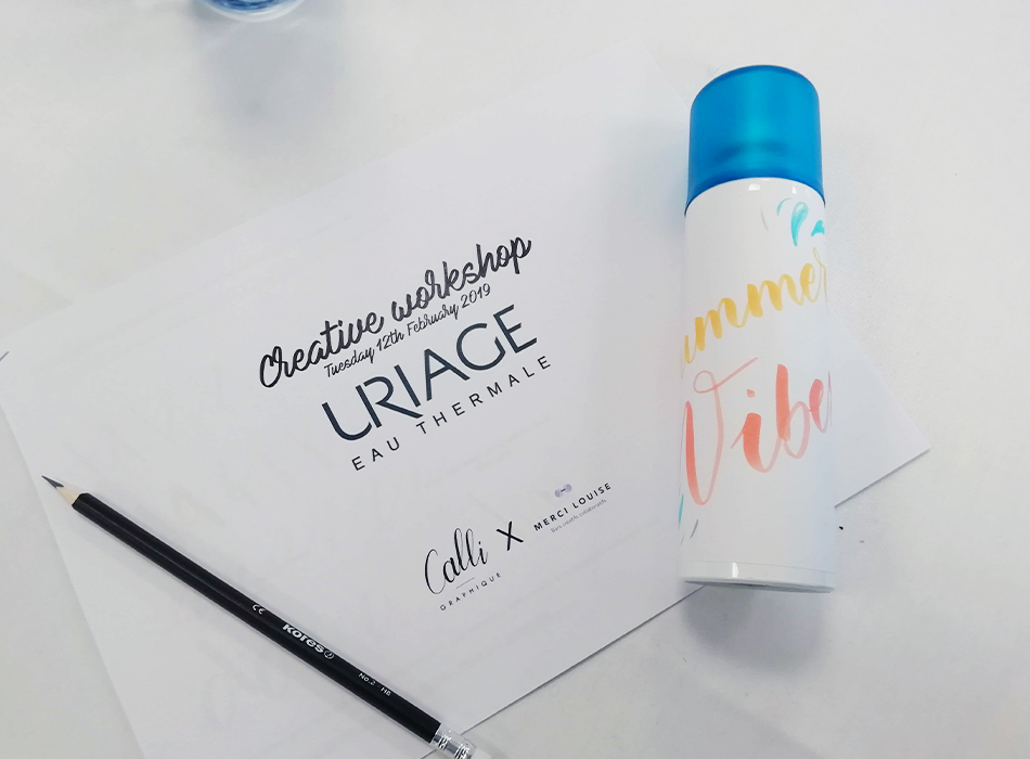 Atelier brush lettering Uriage Calligraphique