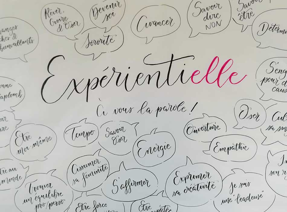 fresque collaborative experientielle calligraphique