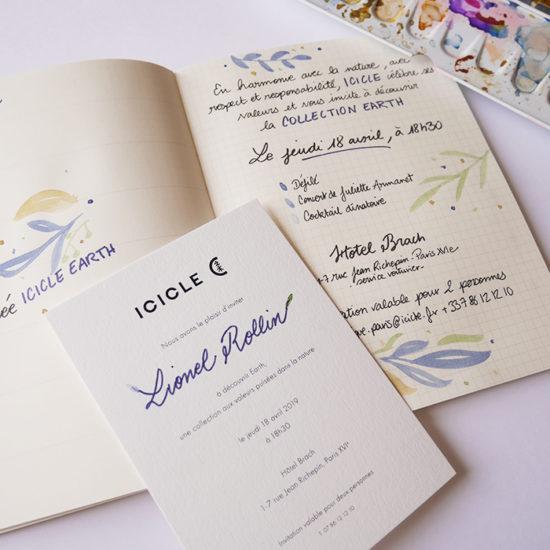carnet invitation calligraphie Icicle