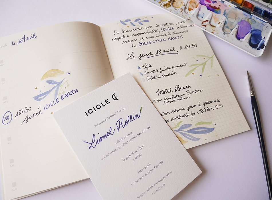 carnet invitation calligraphie Icicle