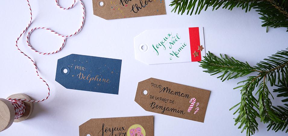 Etiquette de Noël Calligraphie