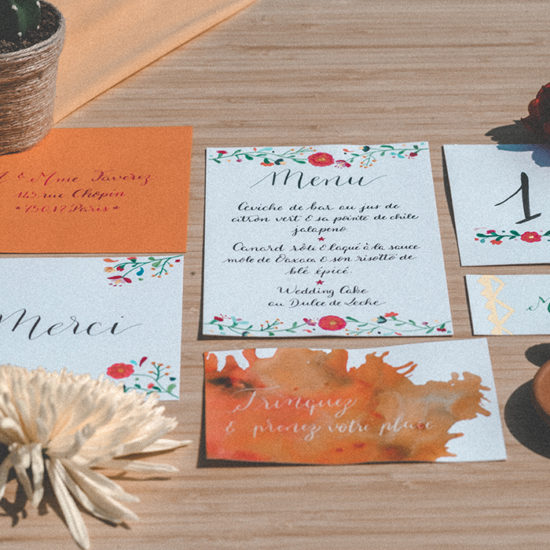 Shooting inspiration mariage Mexique Calligraphie