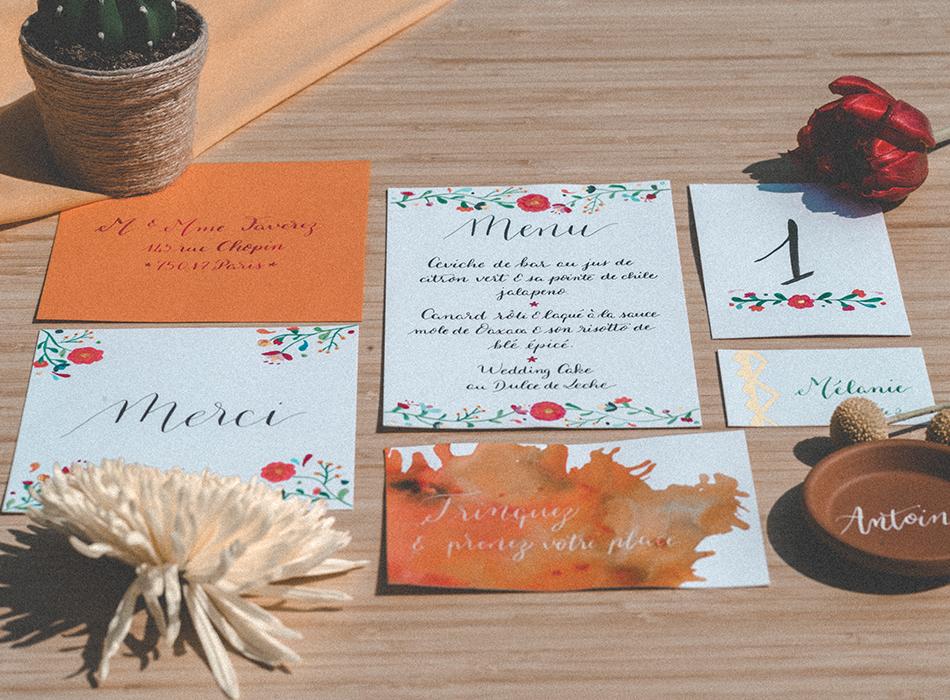 Shooting inspiration mariage Mexique Calligraphie