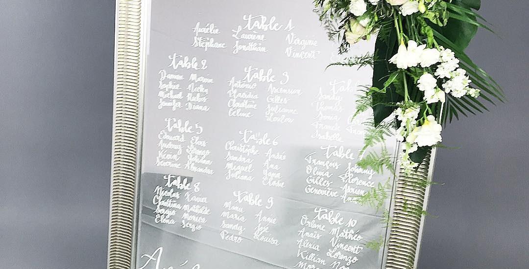miroir plan de table mariage calligraphie
