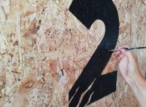 fresque murale crossfit calligraphique