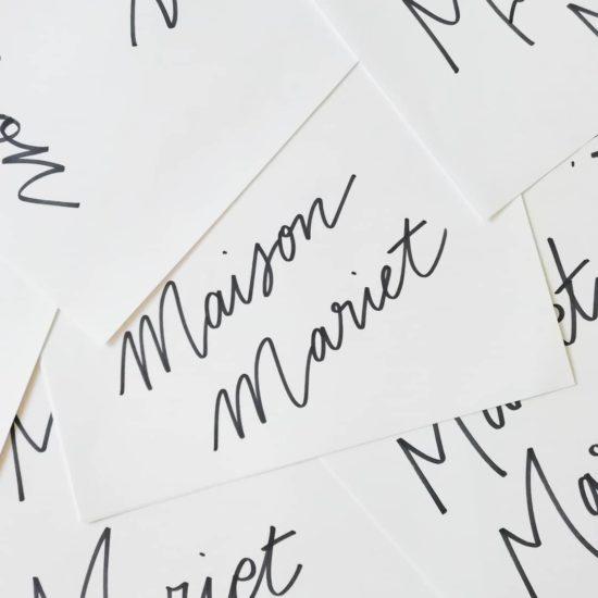 maison mariet - calligraphique