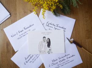 Faire-part mariage calligraphie enveloppes - calligraphique