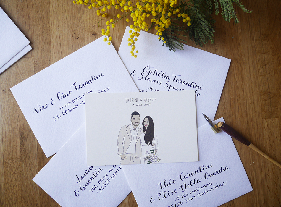 Faire-part mariage calligraphie enveloppes – calligraphique