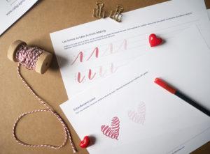 livret d'initiation au brush lettering love letter Saint-Valentin - Calligraphique