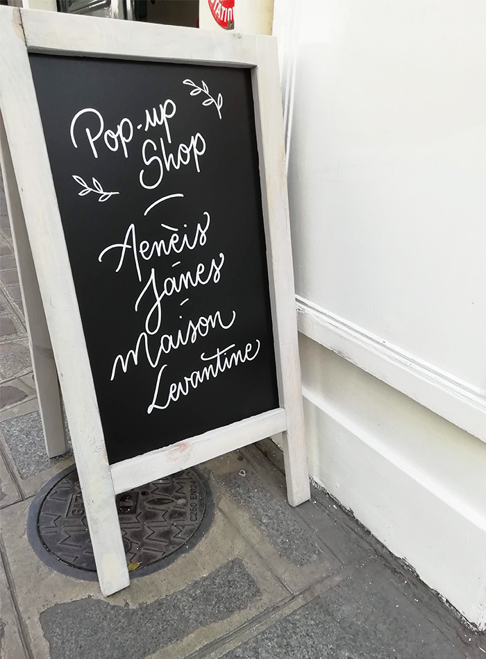 Vitrine pop up store Maison Levantine – Calligraphique