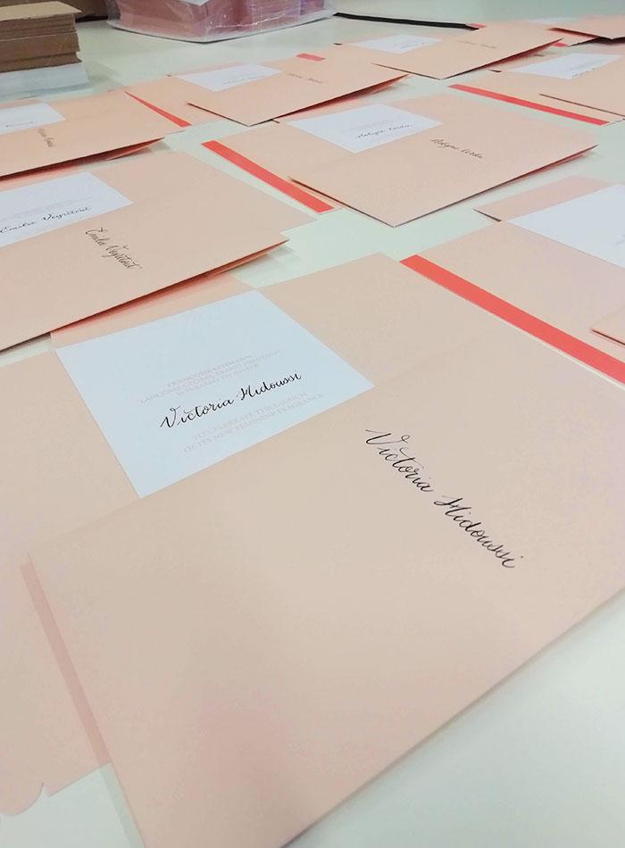 invitation calligraphiée Lancome l'Oréal
