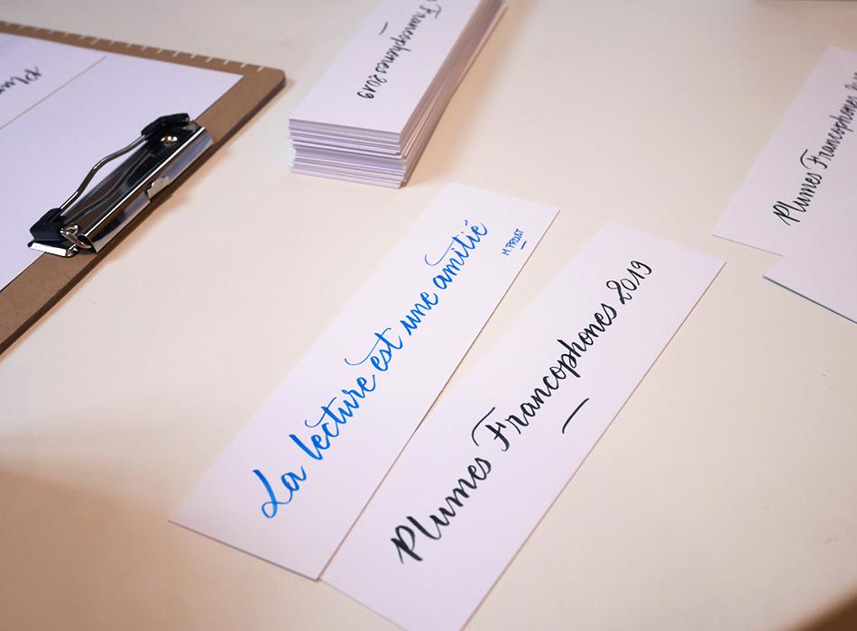 Marque-pages calligraphiés Plumes Francophones 2019 Calligraphique