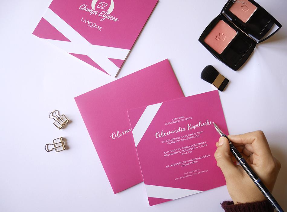 calligraphie enveloppes et invitations Lancôme