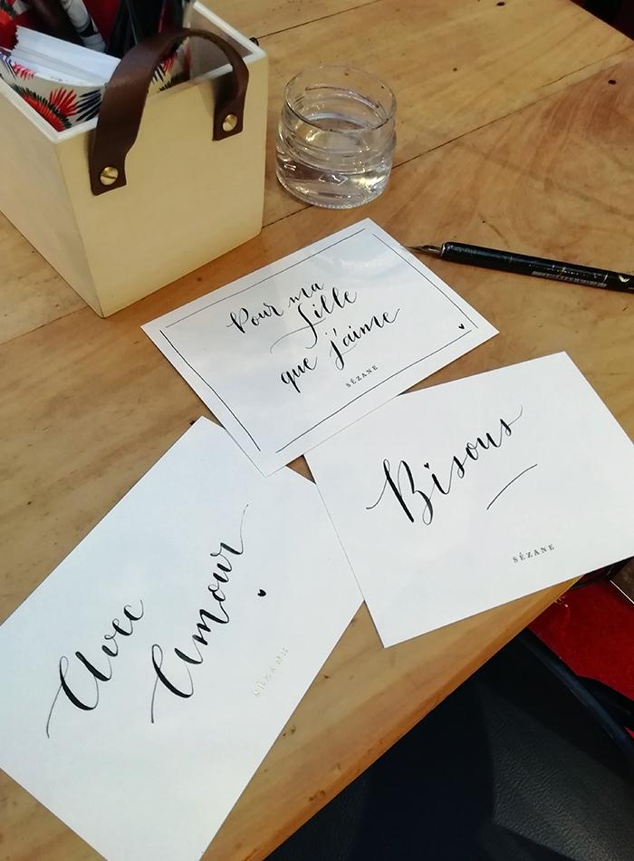 Carte calligraphie Bon marché Sézane