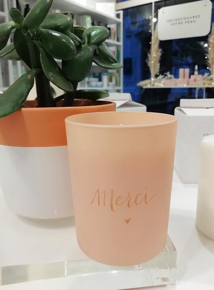 gravure sur verre bougie – calligraphie Paris Oh My cream