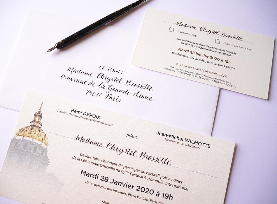 enveloppes calligraphie paris Festival Automobile International